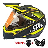 XDNB Motocross Quad Crash DH Helm DOT Certified-Spark Vollgesichts Off Road Downhill Dirt Bike MX ATV Motorradhelm für Erwachsene Männer Frauen Gelb Spark,XXL60CM~61CM