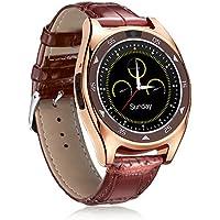 Prom-near Relojes Deportivos Smart Watch Redondo Pantalla 920 Relojes Deportivos Reloj Inteligente Bluetooth 3.0 Detección de frecuencia cardíaca Bluetooth Smart Bracelet Mujer y Hombre (Café)