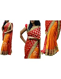 Sarees ( Orange Color 60GM GEORGET FOIL ,CHANDERI SILK, BENGLORI SILK & MONO NET Fabric Heavy Work Saree, New...