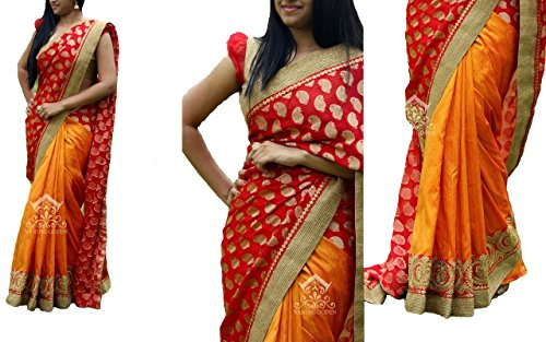 Sarees ( Orange Color 60GM GEORGET FOIL ,CHANDERI SILK, BENGLORI SILK &...