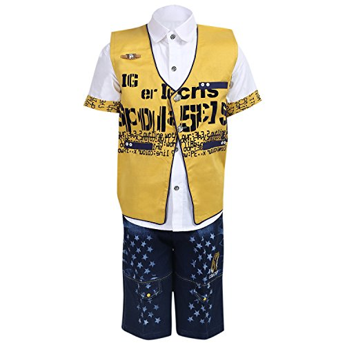 AJ Dezines Kids Party Wear Shirt Waistcoat and Shorts Clothing Set for...