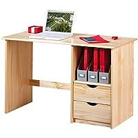 Links Work - Scrivania in legno massello con cassetti -  Beige (Natur)