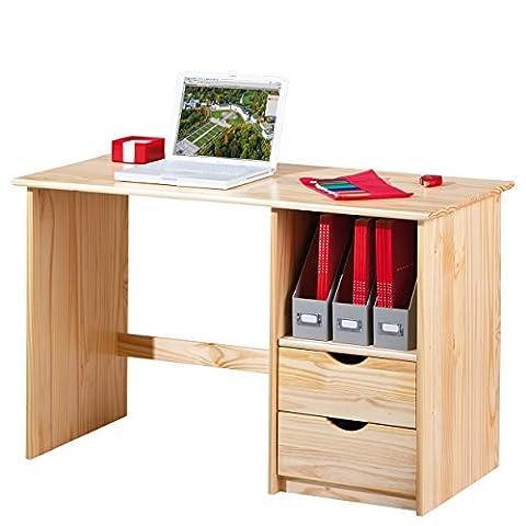 Links 30600102 Schreibtisch mit Schubladen, Kiefer massiv, Holz, platzsparend, natur lackiert