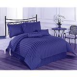 Linenwalas Premium 210 TC Cotton Single Bedsheet With Pillow Cover - Striped, Royal Blue