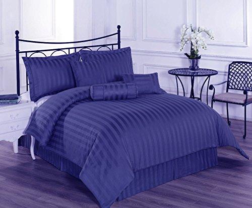 Linenwalas Premium Striped Cotton Double Duvet Cover - Royal Blue