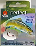 VMC Perfect Forelle rot gebundene Forellenhaken 120cm Vorfach, Größe:6