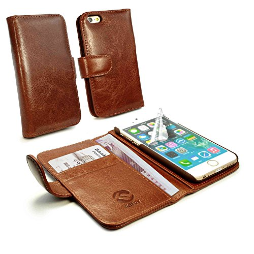 tuff-luv-vintage-genuine-leather-wallet-style-case-cover-for-apple-iphone-7-free-screen-protector-br
