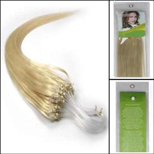 16'' 100S Simple Boucles Anneau Micro Perles Bout Vrai Extension Cheveux Humain Droit Couleur 60 Blonde Platine Beauté cheveux Style
