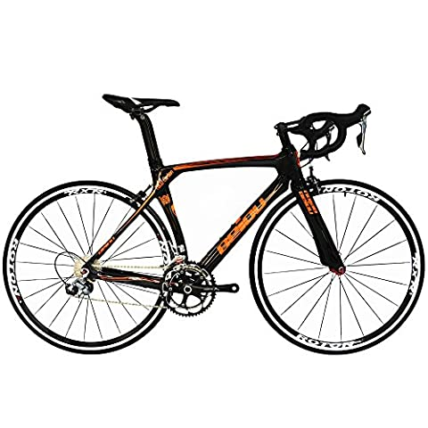 BEIOU® 2016 700C Road Shimano 105 Bike 5800 11S Racing Bicycle T800-M40 Carbon Fiber Aero Frame Ultra-light 18.3lbs CB013A-2 (Glossy Black&Orange,
