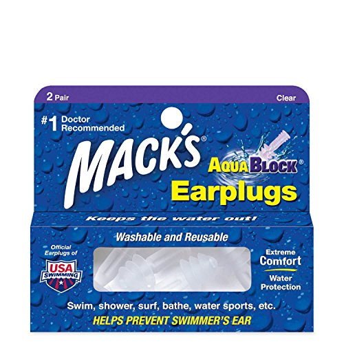 Macks Aqua Block - Tapones para los oídos para natación, color transparente, talla 2 Pairs