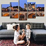 Qwerlp Modular Canvas Wall Art Painting For Living Room 5 Pieces Castle Tower Bridge France River Landscape Pictures Hd Printed Poster