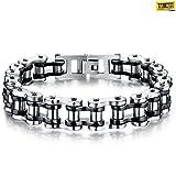#2: Taslar™ Stylish Mens Bike Chain Bracelet of Stainless Steel Two-tone Polished (Black)