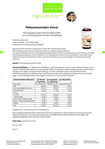 Sanct Bernhard Flohsamenschalen-Pulver mit Ballaststoffen zur Unterstützung einer normalen Darmtätigkeit, Inhalt 300 g