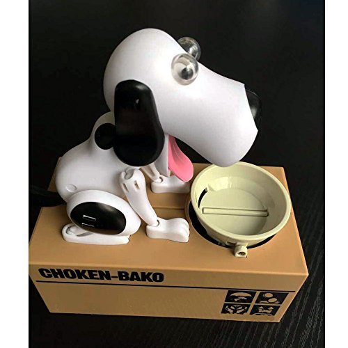 Decentgadget® Puppy Doggy Banküber Hungry Hound Spardosen Kinder Bank-Münzkassette-Eating Money Saving Box (Schwarz)