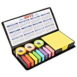#5: PINZO™ Sticky Note Memo Pad with Arrow Flags in PU Leather Case with 2017 & 2018 Calendar