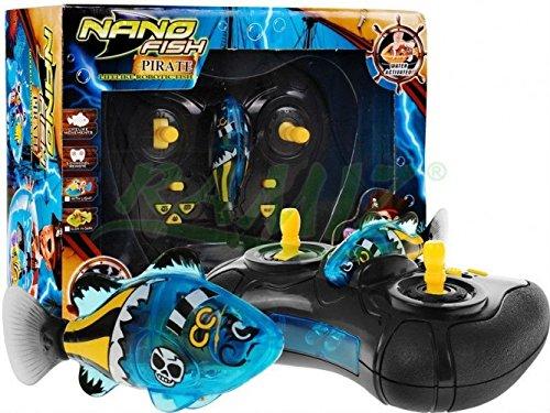 Nano Fish Pirate JH6631 mit Fernbedienung - Nano Fische - Robo Fish - Robofish elektronisches Spielzeug Aktivbatteriebetriebene - BLAU (Fisch Fernbedienung,)