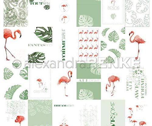 One-sided Scrapbook-Papier (1ks) - Karte Blatt Flamingo International, Renke Alexandra, 30 30 Tiere, Papier -, Druck -, Scrapbooking -