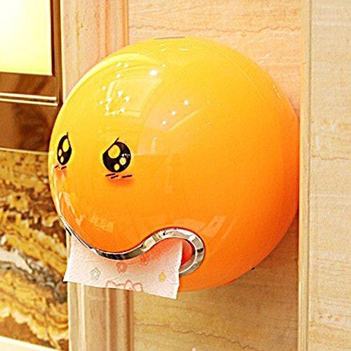 Zeitgenössisches Gewebe-abdeckung (KINGKO Ball Shaped Nette Emoji Bad Wc Wasserdichte Toilettenpapier Box Rollenpapier Halter (Orange))