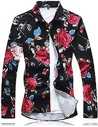 97e109e453715 Camisa De Manga Larga para Hombre Primavera Y Otoño Estilo Flor Rota Camisa  De Manga Larga