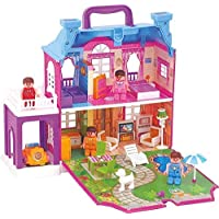 Crazkid toys Kids Dream Palace Doll House with Light, Furniture, Figurines for Kids 40 Pcs (Multicolor)