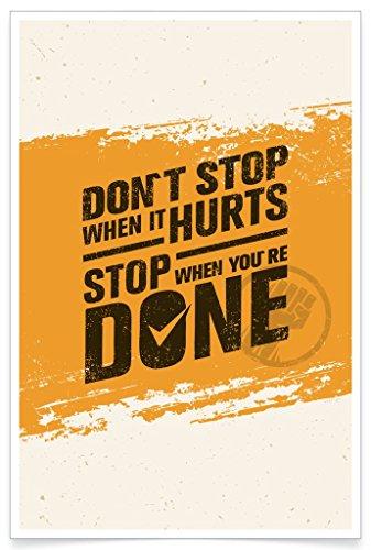 PosterHouse24 PH044A1 Motivation Poster Don't Stop 235g/qm Premium Satin Fotopapier 61 x 91,5 cm