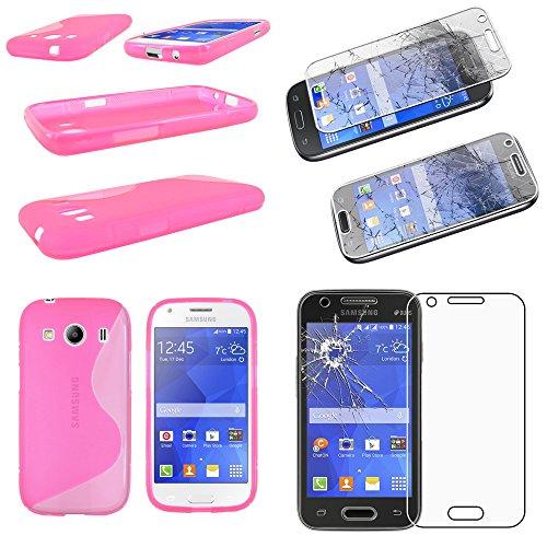 ebestStar - Compatibile Cover Samsung Ace 4 Galaxy SM-G357FZ Custodia Protezione S-Line Design Silicone Gel TPU Morbida e Sottile, Rosa +Pellicola Vetro Temperato [Apparecchio:121.4x62.9x10.8mm 4.0']