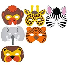 1 x Pack of 6 Wild Animal EVA Foam Masks - assorted designs