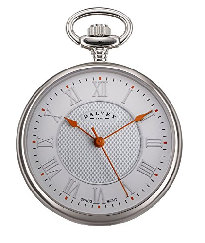 Dalvey Compact Open Face Pocket Watch in White and Orange