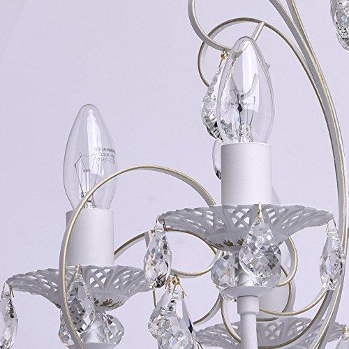 Deckenleuchte Kronleuchter weiß Kristall klar Metall klassisch Ø - 6