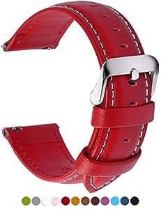 Fullmosa 12 Farben Uhrenarmband, Axus Serie Lederarmband Ersatz-Watch Armband mit Edelstahl Metall Schließe für Herren Damen 14mm Rot