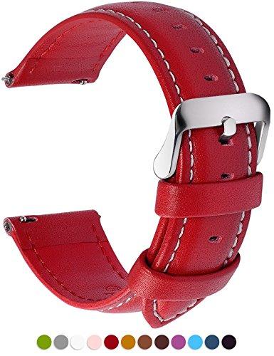 Fullmosa 12 Farben Uhrenarmband, Axus Serie Lederarmband Ersatz-Watch Armband mit Edelstahl Metall Schließe für Herren Damen 16mm Rot