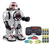 Think Gizmos Robot Giocattolo Bambini RoboShooter con Registrazione Vocale - Robot Bambini Telecoman-Dato - Robot Parlante con Luci e Suoni - con Dischi per Sparare - Musica e Voce - TG542-VR