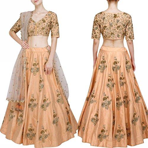 Jheel Fashion Peach elegance Lehenga Choli With Light Beige Net Dupatta.