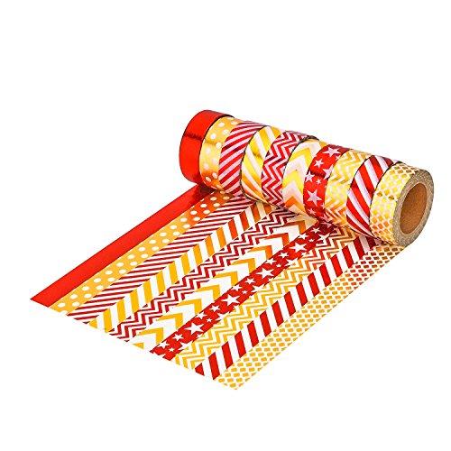 Mudder 10 Rotoli Nastro Adesivo Decorativo Nastri per l'Artigianato, Scrapbook, Bricolage Fai Da Te e Confezione di Regali Articoli per Festa Ufficio