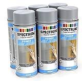 6 Spraydosen Grundierung Primer Unterlack grau matt für alle Oberflächen, 6 x 400 ml