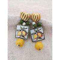 SPEDIZIONE GRATUITA Orecchini con maioliche in ceramica di Caltagirone dipinta a mano e Agata gialla