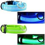 Blinkendes Hundehalsband, 3 Beleuchtungs-Einstellungen, konstantes Licht, Stroboskoplicht, blinkend, Größe M, Farben: Blau und Grün. Grn ist sicherer, wenn Sie im Dunklen Spazieren gehen