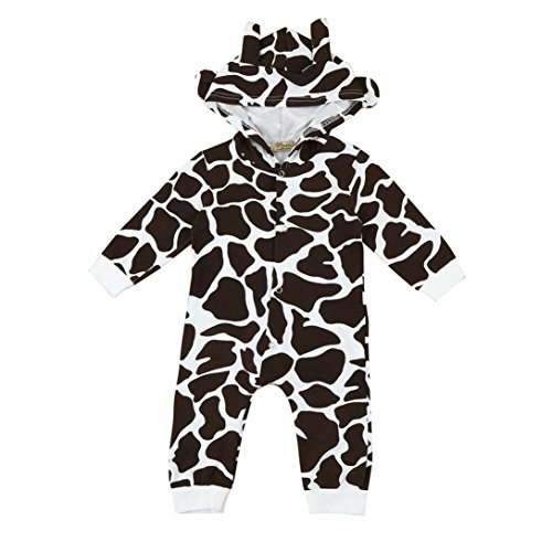 VENMO Kleinkind Mode Unisex Broadcloth Charakter Newborn Baby Jungen Mädchen Kuh Cartoon Hooded Spielanzug Outfits Kleidung... (70CM, Brown) (Minnie Mouse Kapuzenjacke)