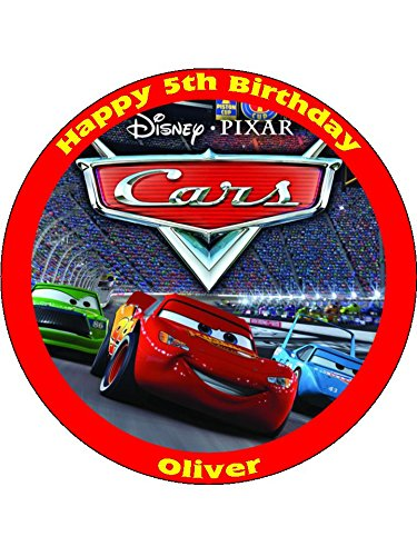 "Image of Disney Cars 7.5"" Round personalised birthday cake topper printed on icing"