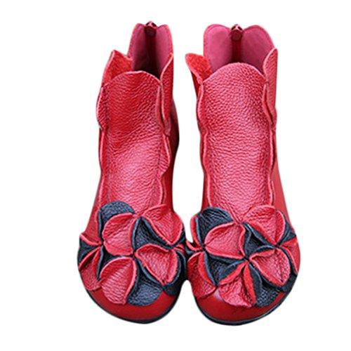 Vogstyle Femme Handmade Bottes avec Fleur Ethnique en Cuir Souple Zipée Style 1 Rouge