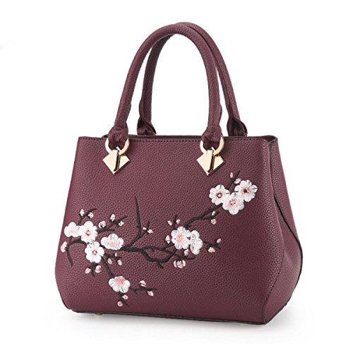 Neue Koreanische Version Der Stickerei Kleine Quadratische Tasche Damen Kettenschulter Messenger Bag Darkpurple