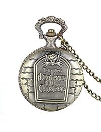 Avaner Retro Reloj de Bolsillo Bronce Pesadilla Antes De Navidad, Cuarzo Reloj Números Arabigos, Buen