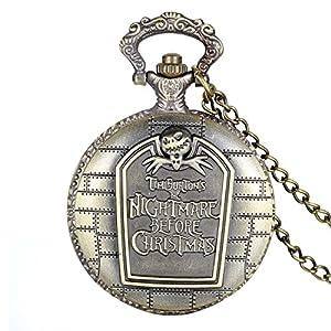 Avaner Taschenuhr Ketten Uhr Retro Bronze Nightmare Before Christmas Gravur arabische Ziffern Quarz Taschenuhr Halskette mit Anhänger 78,7 cm Kette