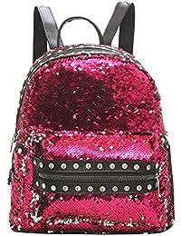 snowvirtuos Rivet Sequins School Backpack Student Book Travel Bag Women  Shoulder Bags 81bf565efbacd