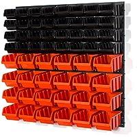 60piezas estante de pared Estantería (Cajas apilables (Talla 2, 3Naranja Negro Estantería para almacén