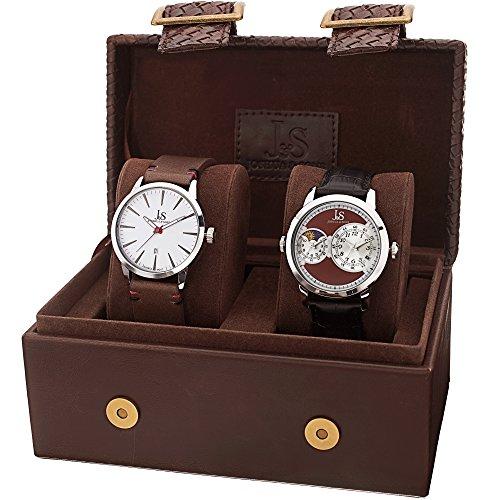 Joshua & Sons JX114BR - Set de 2 Relojes de Cuarzo para Hombres, Color Negro y marrón