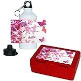 Eurofoto Brotdose + Trinkflasche Set mit Namen Matilde und süßem Schmetterling-Motiv für Mädchen | Frühstücks-Set für Schule und Kindergarten | Aluminium-Trinkflasche | Lunchbox | Vesper-Box
