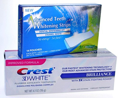 28-dentalbright-teeth-whitening-strips-crest-3d-brilliance-teeth-whitening-toothpaste