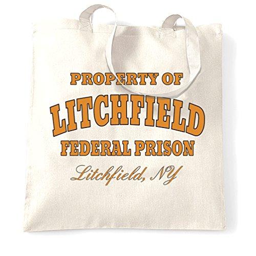 Proprietà Di Litchfield Federal Prison Jail, stampato Slogan design Sacchetto Di Tote White
