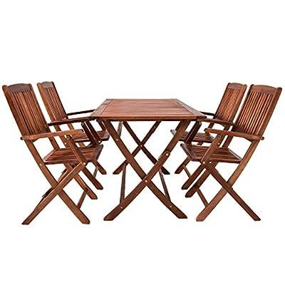 Akazienholz Sitzgruppe Ko Samui für 4 Personen mit Tisch und klappbaren Stühlen von Juskys Gruppe GmbH bei Gartenmöbel von Du und Dein Garten